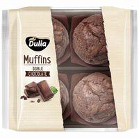 Muffins de doble chocolate DULIA, 4 unid., bolsa 300 g