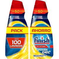 Lavavajilla máquina gel limpiador FINISH, pack 2x50 dosis
