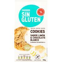 Cookies de choco blanco-limón sin gluten EROSKI, paquete 150 g