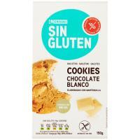 Cookies de choco blanco sin gluten EROSKI, paquete 150 g