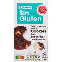 Cookies triple de choco sin gluten EROSKI, paquete 150 g