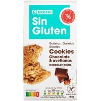 Cookies de choco c/ leche-avell. s/ gluten EROSKI, paquete 150 g