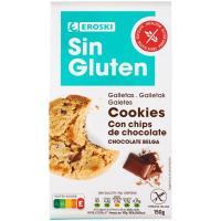 Cookies con pepitas choco sin gluten EROSKI, paquete 150 g