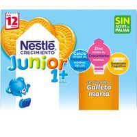 Leche de Crecimiento Junior 1+ galleta NESTLÉ, pack 6x200 ml