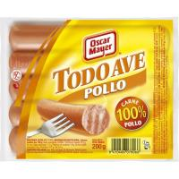 Salchichas de pollo OSCAR MAYER Todo Ave, sobre 200 g