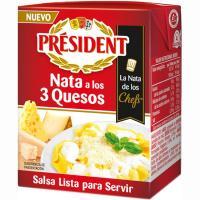 Salsa con nata 3 quesos PRESIDENT, brik 200 ml