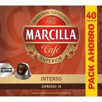 Café intenso MARCILLA, caja 40 monodosis