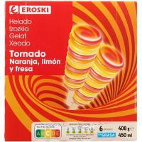 Helado tornado EROSKI, 6 uds., caja 408 g