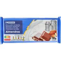 Chocolate con leche almendras EROSKI, tableta 150 g