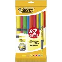 Marcador fluorescente 5 colores, 2uds por color Brite Liner Grip BIC, pack 10uds