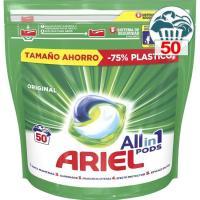 Detergente en cápsulas original 3en1 ARIEL, caja 50 dosis