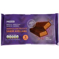 Barrita de barquillo con chocolate EROSKI, 6 uds., paquete 129 g