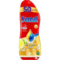 Lavavajillas máquina gel limón SOMAT, botella 50 dosis