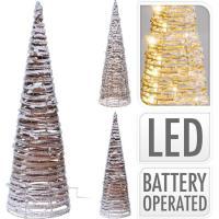 Cono de navidad nevado, 60 cm, con 10 luces led. funciona a pilas (no incluidas)
