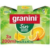 Zumo de naranja sin GRANINI, pack 3x20 cl