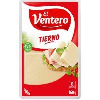Queso tierno EL VENTERO, lonchas, bandeja 160 g