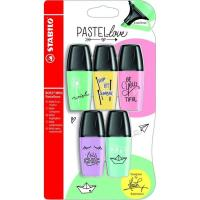 Marcador fluorescente, colores pastel Mini Pastel Love STABILO, Pack 5 uds