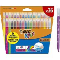 Rotuladores de colores surtidos, 6 fluorescentes Kids Kid Couleur BIC, Caja 36 uds