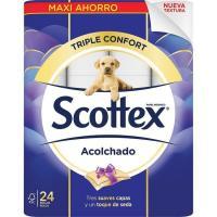 Papel higiénico acolchado SCOTTEX, paquete 24 rollos