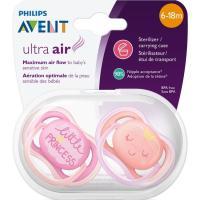 Chupete ultra air deco 6-18 meses niña AVENT, pack 2 uds.