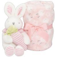 Manta de bebé de color rosa, tacto extrasuave + peluche  INTERBABY, 80X110cm