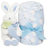 Manta de bebé de color celeste, tacto extrasuave + peluche  INTERBABY, 80X110cm