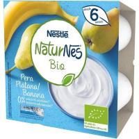 Postre lácteo de plátano-pera NESTLÉ Naturnes Bio, pack 4x90 g