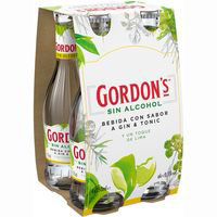 Licor sin alcohol de lima GORDON'S, pack 4x250 ml