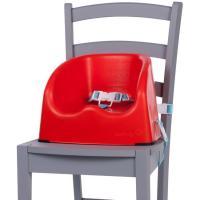 Trona elevadora color rojo. 2 correas de fijación para ajustarla a la mayoría de sillas y arnés de 3 puntos para sujetar al niño. Muy estable, con patas de goma en la base. Fácil de limpiar.Para niños que se mantengan solos hasta 15 kg SAFETY 1ST