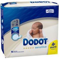 Pañal R. Nacido 2-5 Kg Talla 1 DODOT Sensitive, paquete 28 uds