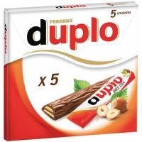 Duplo de barrita de chocolate con leche FERRERO, pack 5x18,2 g