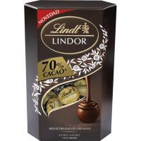 Bombones de cacao 70% LINDT Cornet Lindor, caja 200 g