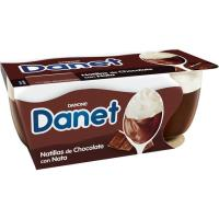 Natillas de chocolate con nata DANET, pack 2x100 g