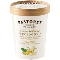 Yogur ecológico con plátano PASTORET, tarrina 500 g