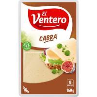 Queso tierno de cabra EL VENTERO, lonchas, bandeja 160 g