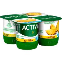 Activia 0% con piña DANONE, pack 4x120 g