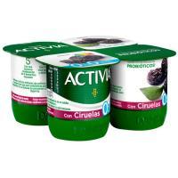 Activia 0% con ciruela DANONE, pack 4x120 g