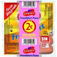 Salchicha frankfurt de pavo CAMPOFRIO, pack 4x140 g