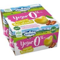 Yogur desnatado con pera-canela ASTURIANA, pack 4x125 g