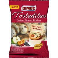 Mini tostas con fruta-pipas de calabaza BIMBO, bolsa 80 g
