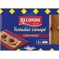 Tosta cuadrada con pasas RECONDO, caja 100 g