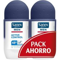 Desodorante para hombre roll on act control SANEX, pack 2x50 ml
