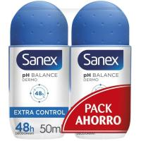 Desodorante act control en roll on SANEX, pack 2x50 ml