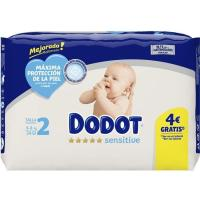 Pañal 4-8 kg Talla 2 DODOT Sensitive, paquete 34 uds