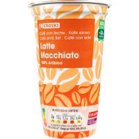 Café latte macchiato EROSKI, vaso 250 ml