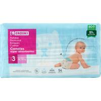 Pañal canales absorbentes 4-9 kg Talla 3 EROSKI, paquete 54 uds