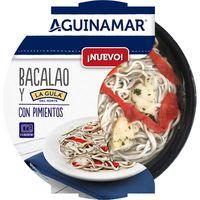 Bacalao y Gula Norte con pimientos AGUINAMAR, tarrina 150 g