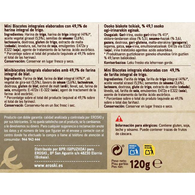 Mini biscottes 49% integral EROSKI, caja 120 g