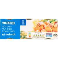 Atún claro al natural EROSKI, pack 6x56 g