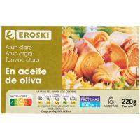 Atún claro en aceite de oliva EROSKI, lata 220 g